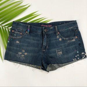 American eagle cutoff jean shorts distressed